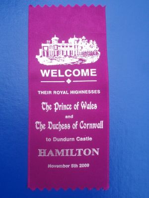 Ribbon celebrating visit to Dundurn Castle