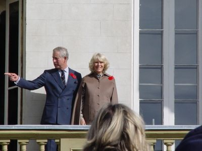 Prince Charles and Camilla on the balcony at Dundurn