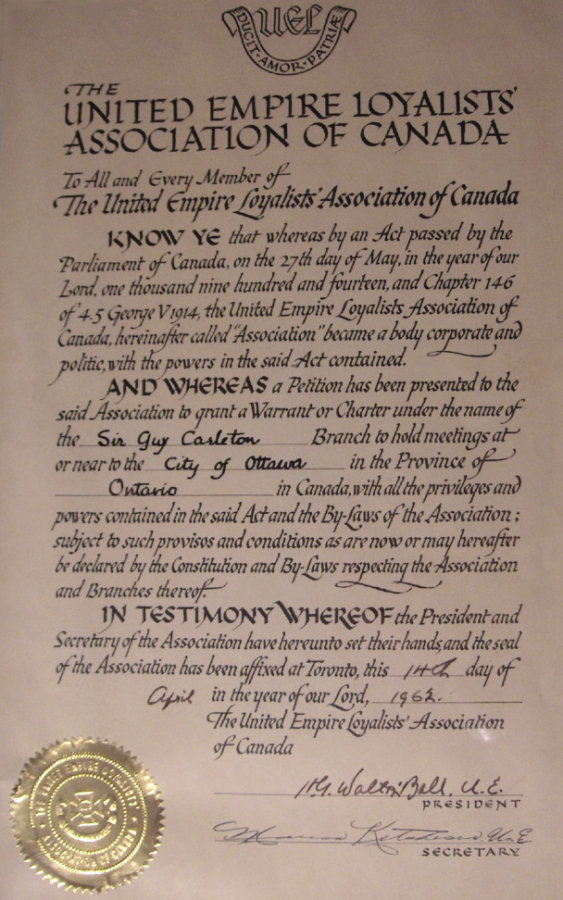 Sir Guy Carleton Branch Charter